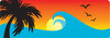 clip art image of a tropical scenery of the ocean with bird flying, a palm tree, and the sun setting clipart
