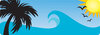 clip art image of a tropical island with a palm tree, bright sun, and birds flying clipart
