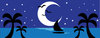 clip art image of a sailboat , palm trees, and a half moon on a tropical island clipart