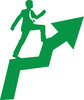 clip art silhouette in green of a businessman walking up a ladder to success clipart