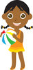 clip art image of an African American young girl happily playing on the beach with a beach ball clipart