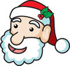 clip art image of a santa clause face with mistletoe in his hat clipart