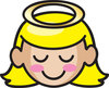clip art illustration of a sweet young girl with golden hair and a halo over her head clipart