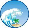 clip art illustration of a giant wave crashing down on a palm tree clipart