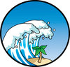 clip art image of a giant wave crashing down on a tropical island with a palm tree clipart