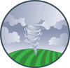 clip art illustration of tornado swirling across a field clipart