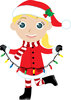 cartoon clipart of a girl wearing a santa costume and holding a string of christmas lights clipart
