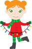 a young girl dressed for winter holding a string of christmas lights clipart