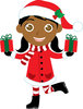 clip art image of an african american girl wearing holiday clothing and holding two christmas gifts clipart