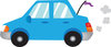clip art image of a blue compact car with a flag clipart