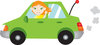 a redheaded girl driving a green car clipart
