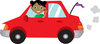clip art image of a smiling african american girl driving a red compact car clipart