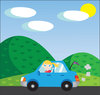clip art illustration of a young girl driving a blue car down a country road waving out the window clipart