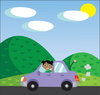 clip art illustration of a african american girl driving down the road waving out the window in a vector clip art illustration clipart