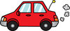 picture of a red economy car puttering down the road clipart
