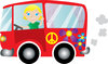 clip art illustration of a blonde girl driving in a red hippie bus and waving clipart