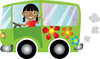 clip art illustration of an african american girl driving a green hippie bus and waving clipart
