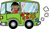 clip art image of an african american girl driving a green hippie bus and waving clipart