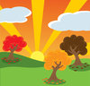 clip art illustration of colorful trees on green grass with the sun shining through clipart