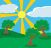 clip art illustration of a bright landscape with green trees and grass and bright sunshine clipart