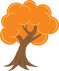 clip art illustration of a bright orange blooming tree clipart
