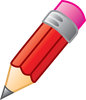 clip art illustration of a red short pencil with a pink eraser clipart