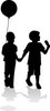 clip art illustration of a silhouette of two children walking. one has a balloon, and the other has an ice cream clipart