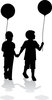 clip art illustration of a boy and girl walking hand in hand holding balloons clipart