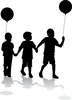 clip art illustration silhouette of three children walking hand in hand. Two of them are holding balloons clipart
