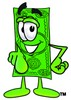 Cartoon Money Character Pointing Straight Ahead clipart