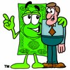 Cartoon Dollar Character With His Arm Around A Man clipart