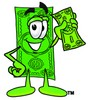 Cartoon Dollar Character Holding Money clipart