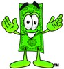 Cartoon Dollar Character Holding His Arms Up clipart