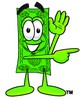 Cartoon Dollar Character Waving and Pointing clipart