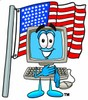 Cartoon Computer Character Standing in Front of Flag clipart