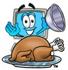 Cartoon Computer Character Lifting Lid To Show Baked Turkey clipart