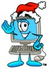 Cartoon Computer Character With Santa Hat On Waving clipart