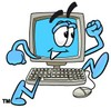 Cartoon Computer Character Running clipart