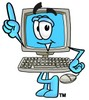 Cartoon Computer Character Pointing Up clipart