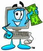 Cartoon Computer Character Holding Money clipart