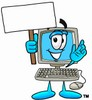 Cartoon Computer Character Holding a Sign While Waving clipart