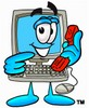Cartoon Computer Character Pointing At Phone clipart