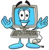 Cartoon Computer Character Open Arms clipart