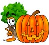 Tree Cartoon Character With a Halloween Pumpkin clipart