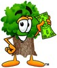 Cartoon Tree Character Holding Dollar Bill clipart