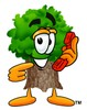 Cartoon Tree Character On a Phone clipart