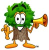 Cartoon Tree Character Holding a Megaphone clipart