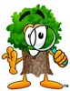 Cartoon Tree Character Looking Through a Magnifying Glass clipart
