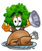 Cartoon Tree Character With a Cooked Thanksgiving Turkey clipart