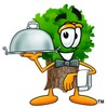 Cartoon Tree Character Serving a Meal clipart
